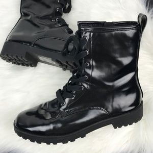 H&M Combat Moto Boots 9.5 Patent Leather